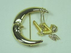 Vintage Moon Brooch Gold Pin Cupid on Moon by LavenderGardenCottag