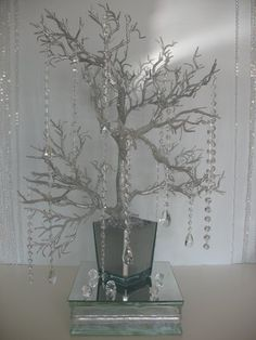 Wedding, Flowers, Reception, White, Ceremony, Silver, Crystal, Tree - Project Wedding