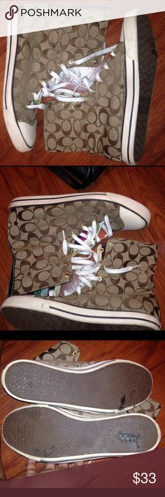 Coach Bonney High-top Sneakers A1283 SZ 11 Coach Bonney High-top Sneakers A1283 SZ 11  PreLoved  No odor Hardly and tread wear  Plenty of life left Coach Shoes Sneakers