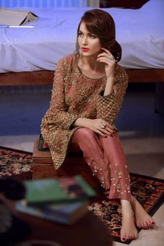 Tamed hand Embroidery, Delicate handwork detailing and Selective colours Shirt and Trouser stitched. Walima Dress, Pakistani Formal Dresses, Shadi Dresses, Pakistani Wedding Outfits, Pakistani Dress Design, Choli Dress, Mehndi Dress, Pakistani Couture, Pakistani Designers