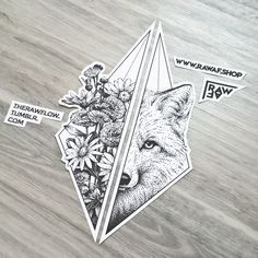 Dotwork fox wildflower tattoo design - download: rawaf.shop/store