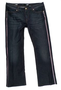 ecfb04db LOVE MOSCHINO Mohito Medium Waist Bootleg Blue Jeans 34 x 30 in Clothing,  Shoes &