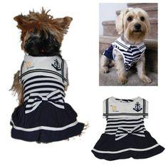 Promotional Girl Style Dog Sailor Dress | Customized Girl Style Dog Sailor Dress | Promotional Dog Accessories