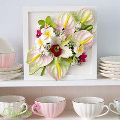 Купить Тропическое панно с цветами из полимерной глины - салатовый, розовый, панно, тропики, тропические цветы