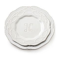 Beautiful dinnerware with monogram by Skyros Designs - featured in Southern Living magazine