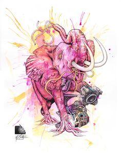 "Elephant ""Animal Series"" 2 of 5 - mixed media art Medium Art, Mixed Media Art, Elephant, Gallery, Artist, Animals, Roof Rack, Elephants, Artists"