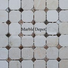 MOCT-32 OCTAGON CREMA MARFIL WITH EMPERADOR DARK DOTS