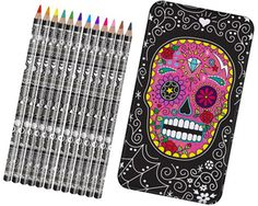 Sugar Skull Pencil Tin Set and more Cool Gift Ideas at Perpetual Kid. The Sugar Skull is one of the main symbols seen during Dia de Muertos festivities.  Vibr