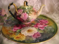 """""""STUNNING VICTORIAN ROSES"""" Absolutely Gorgeous Large 13 1/4"""" Antique Hand Painted Limoges France Serving Tray Charger Plaque Plate Vintage V..."""