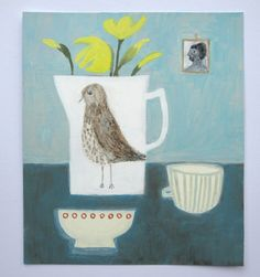 speckled bird jug with daffodils