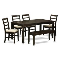 East West Furniture Lynfield 6 Piece Extension Dining Table Set with Parfait Chairs - LYPF6-CAP-C
