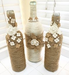 Decorated Wine Bottles Twine Wrapped Flowers