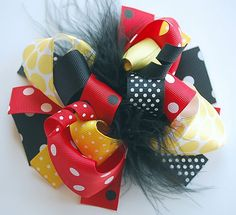 boutique FUNKY fun MICKEY and MINNIE hair bow clip on Etsy, $12.99