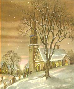 Vintage Christmas Card, Church, Christmas Eve, Snow, Village