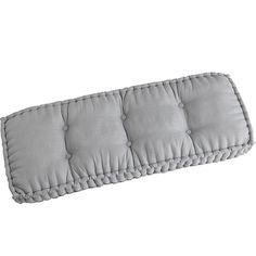 Boxed Chambray Bench Cushion Blue