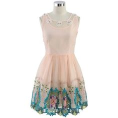 Chicwish Spring Flowers Pink Embroidered Dress