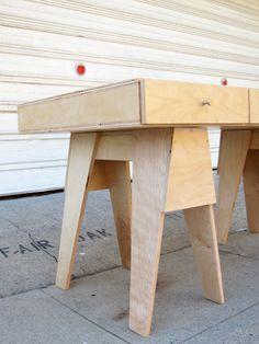 Saw Horse Box Desk Birch Plywood