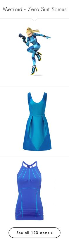 """""""Metroid - Zero Suit Samus"""" by marielw97 ❤ liked on Polyvore featuring fillers, dresses, blue, theia dresses, full skirts, blue day dress, v neckline dress, blue v neck dress, activewear and activewear tops"""