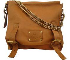 Camel Leather Messenger Bag with Metal Strap Detail