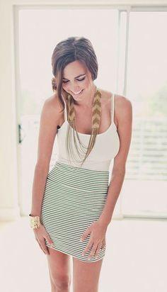 #street #style striped bodycon skirt @wachabuy