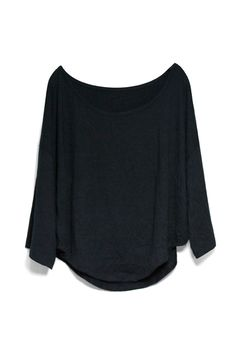 #Romwe Batwing Sleeves Loose Style Black T-shirt