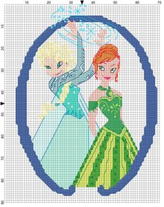 My new Anna and Elsa design for my blanket. Any critiques before I sew it in? Needlepoint Stitches, Counted Cross Stitch Patterns, Cross Stitch Embroidery, Needlework, Frozen Cross Stitch, Cross Stitch For Kids, Loom Patterns, Crochet Patterns, Frozen Pattern