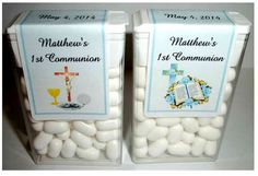 28 First Communion Party Favors Tic Tac Labels Blue Communion Centerpieces, Communion Party Favors, Holy Communion Cakes, First Communion Party, First Holy Communion, Baptism Party Decorations, Baby Shower Balloon Decorations, First Communion Decorations, Free Gift Card Generator