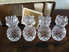 Williams Sonoma Set of 4 GLASS PiNEAPPLE Taper Candle Holders
