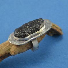Rough Obsidian Bezel Set in Fine Silver and by jimscheradella