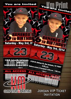 Air Jordan VIP ticket Invitation Size 3x7 Digital (u Print)$15 or Printed Custom made Any Color contact Kmprintsa@yahoo.com