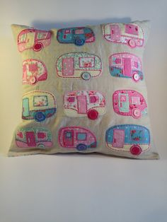 Shabby chic caravan trailer cushion camper van glamping pink applique Sass Belle Camping has reinvented itself an. Shabby Chic Caravan, Retro Caravan, Retro Campers, Caravan Ideas, Camper Caravan, Vintage Campers, Camper Van, Fabric Crafts, Sewing Crafts