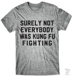 'Surely Not Everybody was Kung Fu Fighting' Funny Lyrics Quote Slogan Grey Marle Unisex T-Shirt Looks Style, Looks Cool, Style Me, Just In Case, Just For You, 3d Mode, Haha Funny, Funny Stuff, Freaking Hilarious