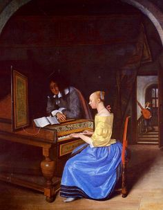 """""""Young Woman Playing a Harpsichord to a Young Man"""" -- 1659 -- Jan Steen -- Dutch -- Oil on panel -- National Gallery, London."""