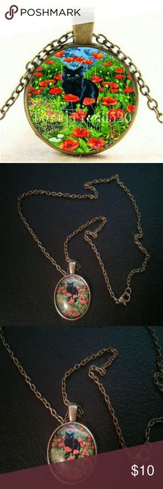 Black Kitty in Poppies Glass Cabochon Cat Necklace New without tags!   A beautiful glass Cabochon Necklace.   The art work is a black Kitty in a field of red Poppies.   The medallion measures approximately 1 inch across and the backing is Bronze tone.   The chain measures approximately 19 inches long and is Bronze in color.   Vibrant art work and a quality piece of costume jewelry. unbranded  Jewelry Necklaces