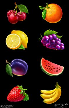 Social Network Icons, Game Icon, Food Illustrations, Game Design, Food Art, Design Elements, Slot, Watermelon, Strawberry