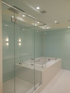 Shower and tub in master bathroom; Somerset Penthouse.