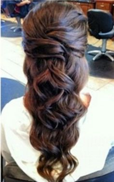 long curly hair pulled back styles - Google Search