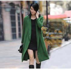 Solid bright green maxi winter coat for women, brief women coat