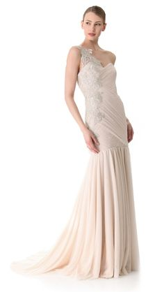 One shoulder gown by Marchesa. Reminds me of what Desiree on the bachelorette wore when she got engaged!