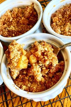 This air fryer apple crisp with oatmeal streusel is a quick and easy apple crisp recipe! Bake the best apple dessert using apples, cinnamon, and oats. You will love baking this air fryer dessert recipe for Thanksgiving or a fall dessert!