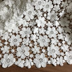 Off White Cotton Lace Fabric Charming Floral Flowers Fabric for Bridal, Girl Dress, Wedding Gowns, Home Decoration Off white baumwollspitze stoff charmante blumen stoff White Lace Fabric, Embroidered Lace Fabric, Crochet Stitches Free, Crochet Motif, Irish Crochet, Crochet Lace, Crochet Diagram, Floral Flowers, Crochet Flowers