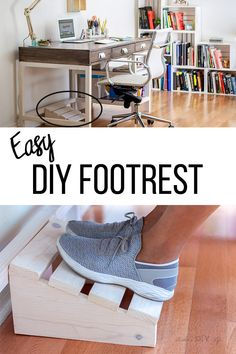 Woodworking Desk What a great idea! Simple DIY footrest for under the desk. Make using scrap wood with this full tutorial and plans. Desk What a great idea! Simple DIY footrest for under the desk. Make using scrap wood with this full tutorial and plans. Scrap Wood Projects, Diy Furniture Plans Wood Projects, Easy Woodworking Projects, Woodworking Plans, Woodworking Techniques, Wood Furniture, Woodworking Chisels, Woodworking Equipment, Woodworking Magazine