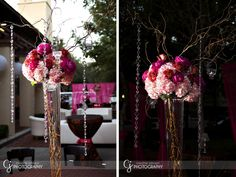 could use this idea...i have 20 inch vases. could use curly branches & top with fall flowers