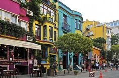 Colorful Row Of Houses On The Yerebatan Cad In Istanbul