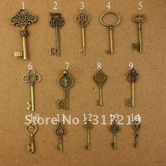 Vintage Pendant,Antique Bronze Tone Key Charms,Metal Charm,Alloy Charms,Free Shipping! 1pc of each-in Charms from Jewelry on Aliexpress.com