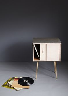 Soojin Kang via Design Sponge Interior Design Classes, Record Cabinet, Pouf, Modern Retro, Tool Box, 3d Design, Home Accents, Plans, Old Things