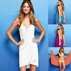 Fashion Lady Women Sexy Soft Cotton Beach Cover up dress Swimwear Bikini Clothe $6.99