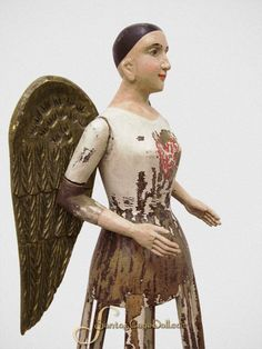 18 Inch Santos Cage Angel - Handcarved Wood with Wooden Wings