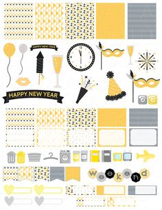 Printable Planner Stickers New Years Eve Silver by LaceAndLogos