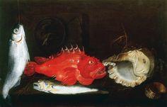 Paolo Porpora )- Still Life with Mullet, Scorpion Fish, Weever, two Shells and a Medallion Still Life 2, Be Still, Fish Tales, Still Life Flowers, Red Art, Mullets, Italian Artist, Shells, Image